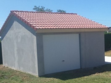 Garage béton – Double pente 4,63m*5,60-6,97m avec option Auvent– Mattei Saint Victor Montluçon