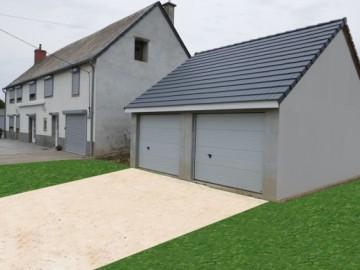 Garage béton – Double pente 6,08m*5,60-6,97m avec option Auvent – Mattei Saint Victor Montluçon